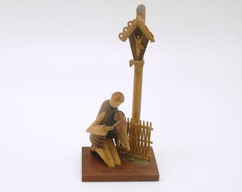 Vintage Wood Figurine Violin Player Sitarski Fedorowicz Poland