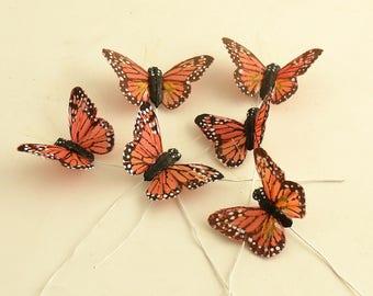 Monarch Butterfly Picks Butterflies Wire Stems Corsage Picks