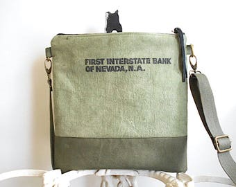 Military canvas & bank sack crossbod, iPad bag - hand dyed olive green - eco vintage fabr