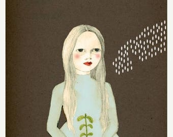 Sale Planting Girl Delux Edition Print of original drawing