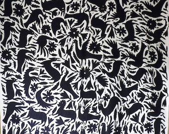 """Black Otomi Fabric Wall Hanging Bedspread Mexico Hand Embroidered 180 x 185 cm/ 71""""x 73"""