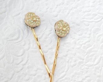 CLEARANCE - 2 sparkling rhinestone pale green bobby-pins, hair accessory, womens accessory, fashion accessory, floral hairpin