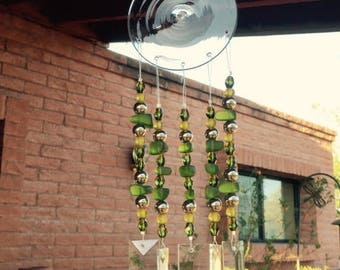 FLASH SALE Windchime Moss Green Glass