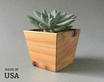 Succulent Planter | Wood Succulent Planter Pot | Indoor Planter for Succulents | Home Decor - Office Decor - Geometric Shape