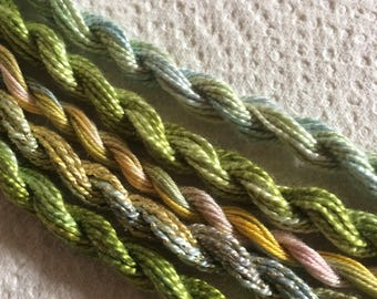 Collection of 5 mini skeins, Medium hand dyed pearl thread in co-ordinating colours