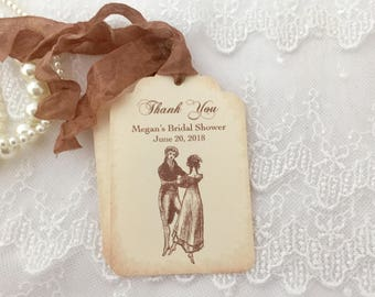 Jane Austen Tags, Jane Austen Favor Tags, Pride and Prejudice Bridal Shower Tags, Set of 10