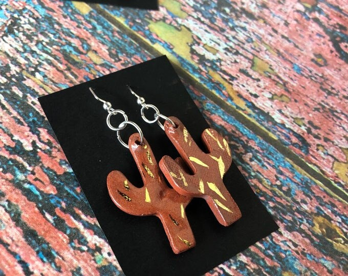 Terra Cotta Cactus Earrings w/ 14k Gold Accents