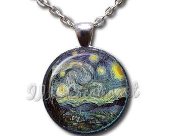 20% OFF - Van Gogh's Starry Night Glass Dome Pendant or with Chain Link Necklace - AP103