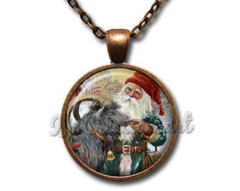 Vintage Christmas Santa and Reindeer Nystrom Glass Dome Pendant or with Chain Link Necklace HD250