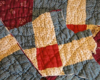 Antique Quilt Pieces | Old Quilt Pieces | Vintage Quilt Pieces | Cutter Quilt Scrap| Old Quilt Pieces For DIY | Primitve Quilt Pieces