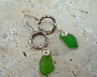 Sea Glass Earrings- Green Seaglass and Crystal Wire Wrapped Earrings