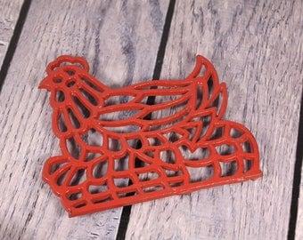 Red Hen on Nest - Trivet - Metal