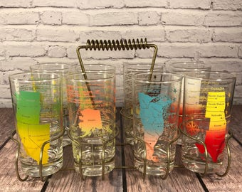 50 States Glasses - Set of 8 - Carrying Caddy