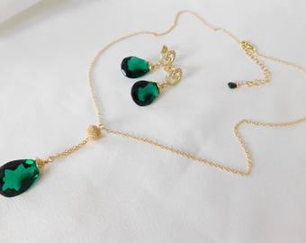 Emerald Green Jewelry Set - Emerald Green Earrings - Emerald Green Necklace - Emerald Jewelry