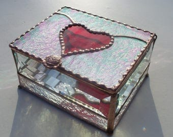 Red Heart Jewelry Box, Stained Glass Jewelry Box, Engraving add-on available