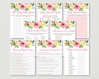 Pink & Yellow Floral Baby Shower Games Package / Floral Baby Shower / 8 Printable Games / INSTANT DOWNLOAD A447