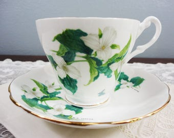 Vintage White Trillium English Bone China Teacup and Saucer - Green Leaves and Butterfly