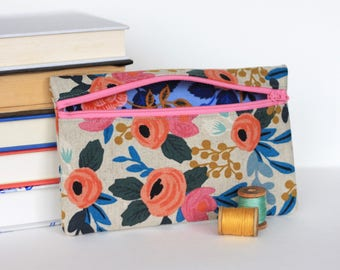 Floral Zipper Bag Accessory Case -Rifle Paper Co Fabric