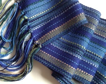 handwoven scarf in a blend of blues