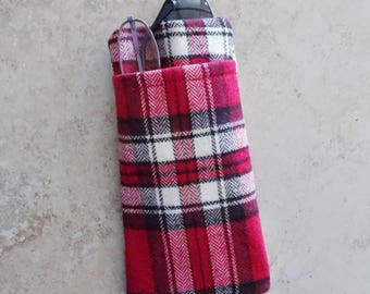 Double Pocket Eyeglass Case, Sun Glass & Reader Case in One, Red Plaid Fabric Eyeglass Case, Preppy, Case for 2 Eyeglasses, Gift for Him
