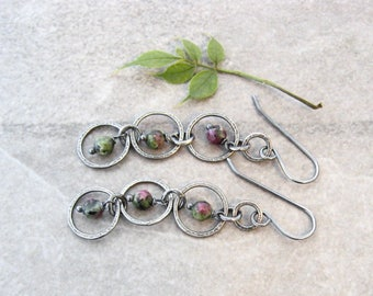 silver drop earrings, silver and stone earrings, ruby zoisite, forged silver earrings, oxidized silver, torch fused rings, sterling ear wire