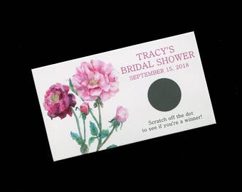 Bridal Shower Scratch Off Cards - Bridal Shower Game - Personalized - Pink Flowers