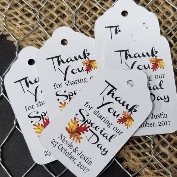 "Thank You for Sharing our Special Day with Autumn Leaves Fall Wedding SMALL 2"" Favor Tag Choose your quantity"