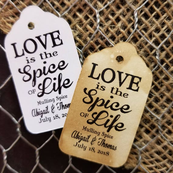 """Love is the Spice of Life SMALL 2"""" Personalized Favor Tags Thank you Favor Click the Drop Down for QUANTITY CHOICES"""
