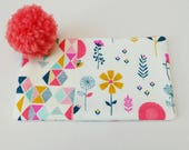 Cream Floral and Geometric Fabric Zip Pouch, with Coral Pom Pom, Spring Floral Zip Purse