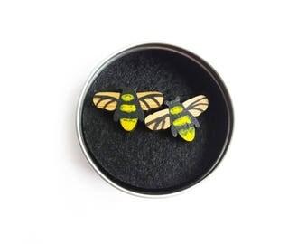 Bee Earrings, Bee Studs, Honey Bee Jewellery, Manchester Bee, Bumble Bee Earrings, Gifts For Her, Bee Jewellery, Wooden Earrings