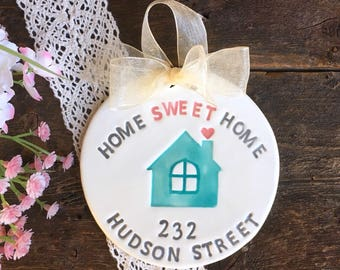 Home Sweet Home Personalized  Housewarming Gift Ornament - Ceramic Ornament, Hostess Gift, New Home Gift, Gift for New Homeowner,