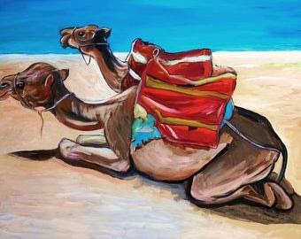 "Moroccan Art - Wall Art - Camel Ride on Plage Achakkar - Tangier, Morocco - 29"" X 23"" Original Acrylic Painting"