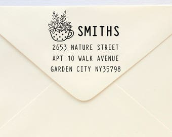 Custom Rubber Stamp - Custom Address Stamp - Return Address Stamp - Personalised Address Stamp - Gift - Teacup Succulent 5