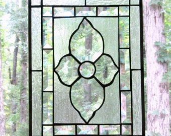 """Stained Glass Panel, Clear with Beveled Victorian Flower Center, Inner Border Bevels, Textured Glass Outer Border & Background 10.5"""" x 14.5"""""""