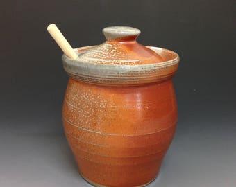 Pottery Honey Jar - Honey Pot with Dipper - Wheel Thrown Pottery - Soda Glazed Stoneware Pottery (#2)