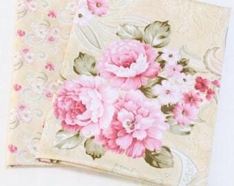 4712 - Peony Flower Cotton Fabric - 62 Inch (Width) x 1/2 Yard (Length)