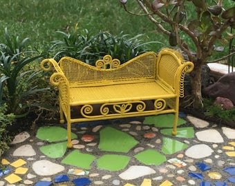 Miniature Garden Bench for Miniature Dollhouse Garden or Fairy Garden, Sunny Golden Yellow, One Inch Scale, Painted Metal, Discontinued