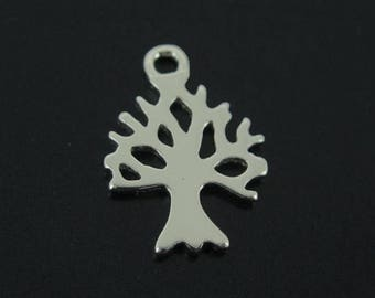 Sterling Silver Charms- Tree Charm, Tree Silhouette Charm,Tree of Life - 11.5mm-(1 pc )-SKU: 201277