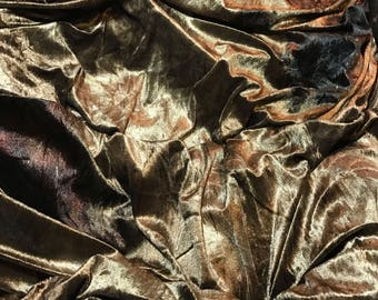 Golden Brown - Stretch VELVET Fabric 1/3 yard remnant