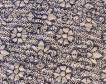 Vintage Cotton Fabric Brown Floral Feedsack 35 x 22