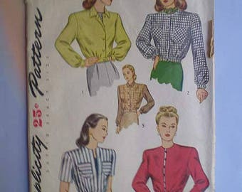 Vintage 40s Waist Jacket Unused Pattern 30 XS