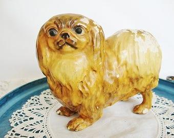 vintage pekinese dog figurine mortens studios shabby chippy finish
