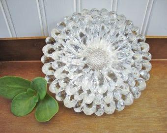 hazel atlas sunflower daisy ashtray dishes set of 3 glass candle holder
