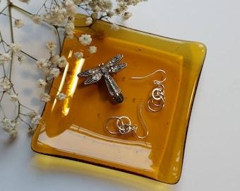 Amber Glass Ring Dish - Spoon Rest - Trinket Dish