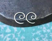 tiny silver spiral earrings