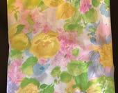 Vintage Full Flat Sheet Spring Floral Pattern Yellow Pink Blue Green