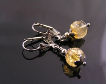 Citrine Earrings, Citrine Jewelry, November Birthstone Earrings, Short Earrings, Yellow Earrings, Quartz Jewelry, Pierced Earrings, E1920