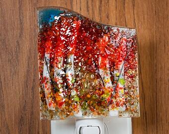 Fused Glass Nightlight - BluDragonfly SRA - Fall Scene - Nightlight