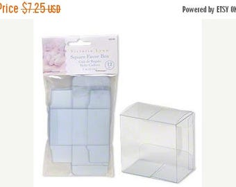 memorial day sale 12 Pack Clear Plastic Tuck Top Style Packaging Victoria Lynn Retail Gift Boxes 2X2X1.25 Inch Size