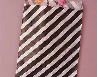 Summer Sale 25 Pack 5 X 7 Inch Color and White Striped Flat Paper Food Safe Bags